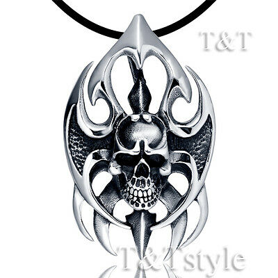 High Quality T&T 316L Stainless Steel Skull Pendant Necklace (NP157)