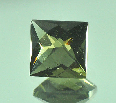 MOLDAVITE FACETED GEM 7x7mm SQUARE CUSH CUT 1.6ct #BRUS193