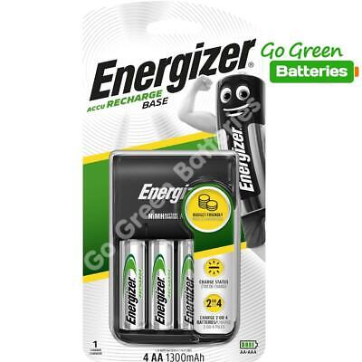 Energizer Charger + 4 x AA 1300 mAh Rechargeable Batteries AA or AAA LR6 LR03