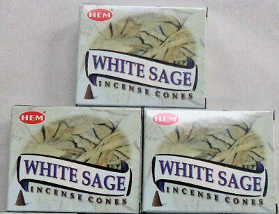 Hem White Sage Incense Cones: 3 x 10 = 30 Cone (Smudging, Cleansing)