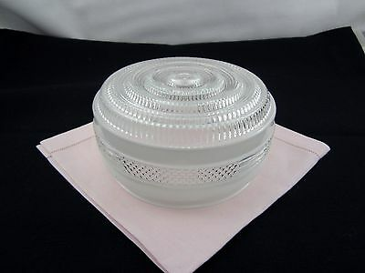 "Vintage 6.5"" Round Frosted & Clear Textured Class Overhead Light Fixture- Rare"