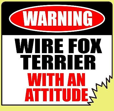 "Warning Wire Fox Terrier With An Attitude 4"" Tattered Edge Dog Canine Sticker"