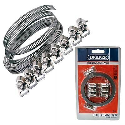 Draper 3m Long Hose Clip Clamp Band Strap Adjustable Stainless Steel Large 8mm