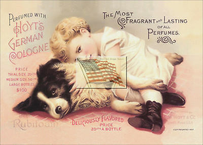 REPRINT PICTURE of old ad 1892 CHILD AND DOG HOYT'S GERMAN COLOGNE PERFUME 7x5