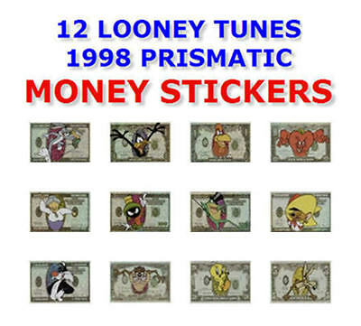 "LOONEY TUNES 1998 MONEY VENDING MACHINE 12 STICKERS SET 2.75"" x 4"" YOU PICK ONE!"
