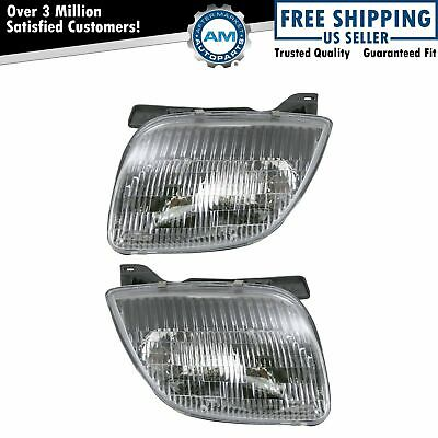 Headlights Headlamps Left & Right Pair Set NEW for 95-02 Pontiac Sunfire
