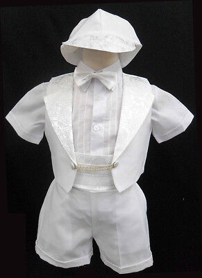 Baby Boy Christening Baptism Outfit Formal tuxedo suit size 0 1 2 3 4 5 (0M-36M)