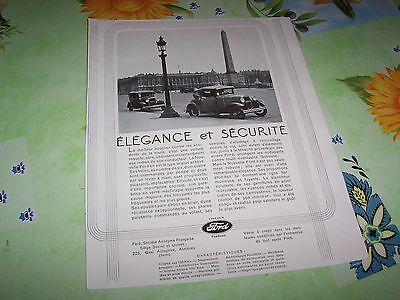 Publicité Magazine FORD 1930 / Original French Advertising //