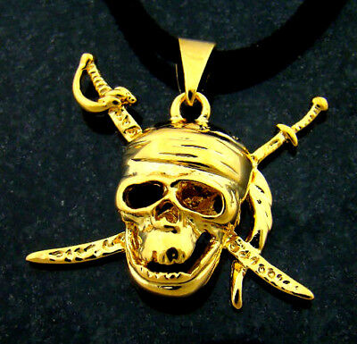 PIRATES OF THE CARIBBEAN skull Pendant 24K gold plated with a black rope chain