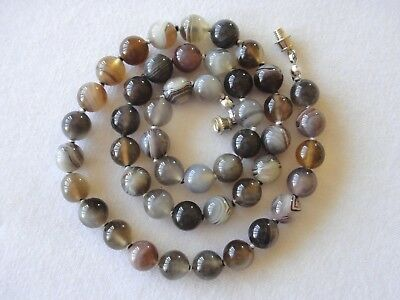 "8mm Botswana Agate Necklace 18"" Hand Knotted 8 mm Banded Agate Beads Therapeutic"