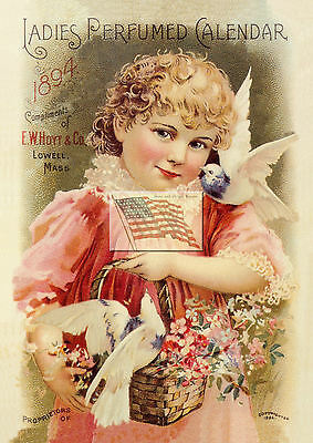 old HOYT LADIES PERFUMED CALENDAR ad 1894 - girl and birds - lowell picture only