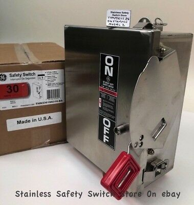 GE Stainless THN3361SS 30a 600v Mod.12 Safety Switch Non-Fused 136 Available New