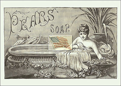 REPRINT PICTURE of old PEARS' SOAP ad WOMAN IN BATH TUB 7x5