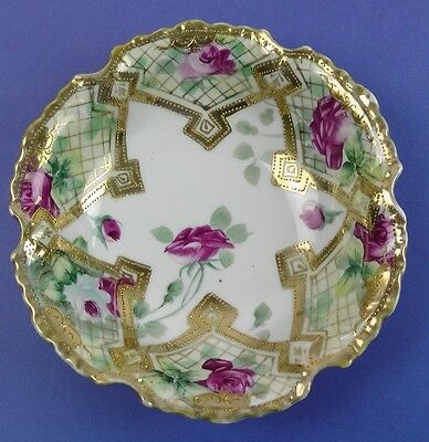 Antique NIPPON (Maple Leaf stamp) Porcelain Handpainted SERVING / TRINKET BOWL