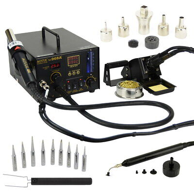 Aoyue 968A+ 4  in 1 Digital Soldering Iron & Hot Air Station Complete Kit
