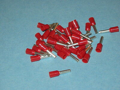 RED 1.5mm FERRULE CRIMP (BOOTLACE CRIMPS)  QTY= 25