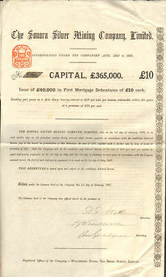The Sonora Silver Mining Company > 1887 bond certificate share 10 pounds London