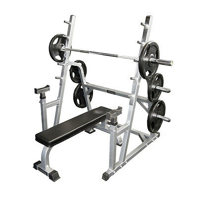 Squat Rack + Flat Bench + Barbell + Olympic Weights for Bench Press Gym Exercise