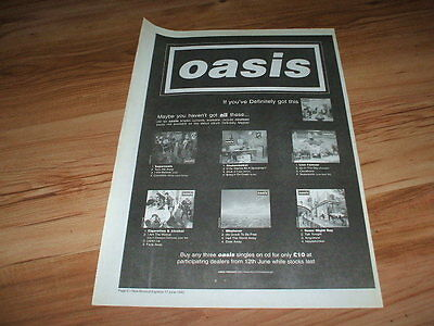 Oasis-1995 poster size press advert