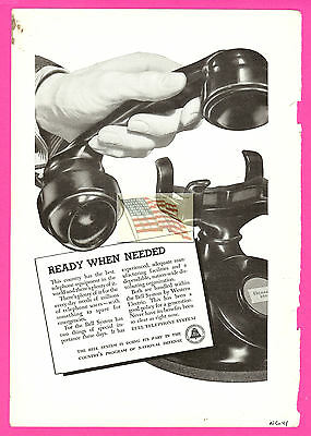 old BELL SYSTEM PHONE ad 1941 - original - ready when needed - nat geo magazine