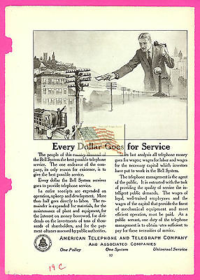 old AT&T BELL SYSTEM ad 1919 - original - every dollar goes - century magazine