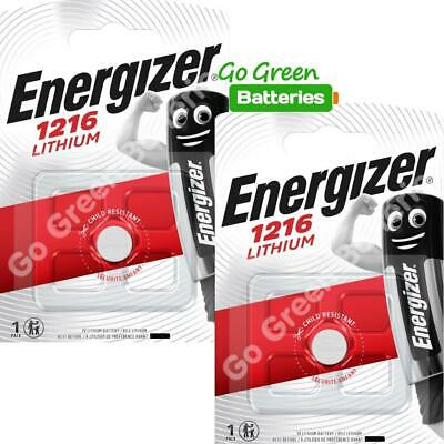 2 x Energizer 1216 CR1216 3V Lithium Coin Cell Battery DL1216 KCR1216, BR1216