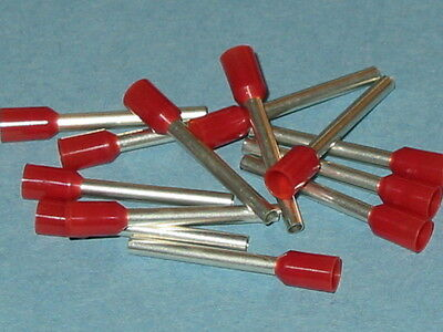 RED 1.5mm x 18mm extra long pin FERRULE CRIMP (BOOTLACE CRIMPS)  QTY = 100