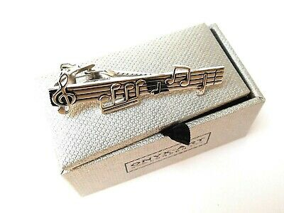 """DE-LUXE MUSICIANS TIE BAR-METAL 63mm Silver """"MUSICAL NOTES"""" in a GIFT BOX-NEW"""