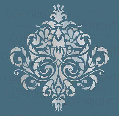 LARGE WALL DAMASK STENCIL PATTERN FAUX MURAL DECOR #1010 (Choose Custom Size)