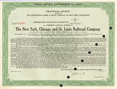 The New York Chicago and St. Louis Railroad fractional stock certificate share