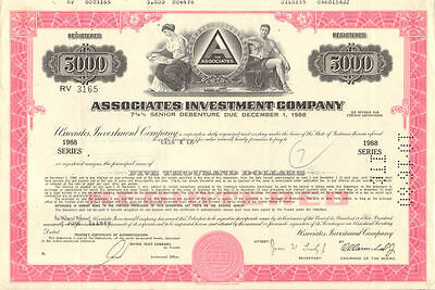 The Associates Investment   $5,000 bond certificate stock share