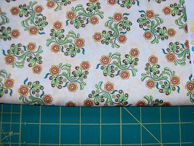 """1/2 yd x 45"""" - sew catty cotton quilt fabric - beiges, yellows  and greens"""