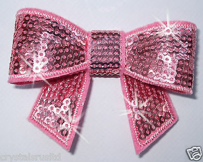 ROSE fabric EMBROIDERY SEQUIN BOW iron-on HOTFIX patch TRANSFER