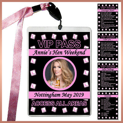 Personalised L-Plates VIP Pass Lanyard + Badges Hen Night Party  Photo Dare Card