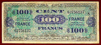 Francia Allied Military Currency 100 Francs 1944 P.118b Strappo #B1018