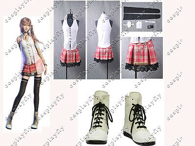 Final Fantasy XIII FF 13 Serah Farron Shoes Cosplay Costume With Boots Any Size