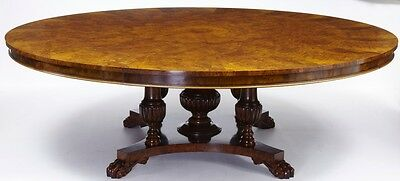 LARGE WALNUT SEGMENTED JUPE TABLE WITH 5 LEAVES SEATS 12+