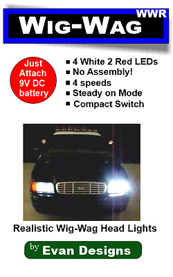 Red/White Wig Wag Headlights + Taillights Alternating Flashing Circuit 6 LEDs!