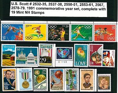 US 1991 Commemoratives Year Set with 19 Stamps MNH