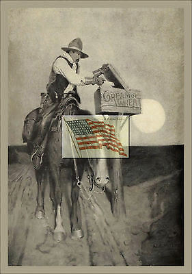 REPRINT PICTURE of old CREAM OF WHEAT ad 1907 man with letter on horse 5x7