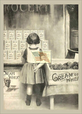 REPRINT PICTURE old CREAM OF WHEAT ad little girl standing in front of store 5x7
