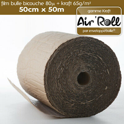1 Rouleau de film bulle d'air + KRAFT 50cm x 50m