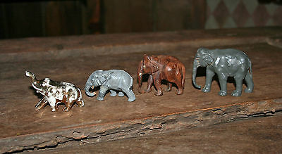 LOT OF 4 VINTAGE 1940'S - 50'S COLLECTABLE ELEPHANT FIGURINES TOYS!