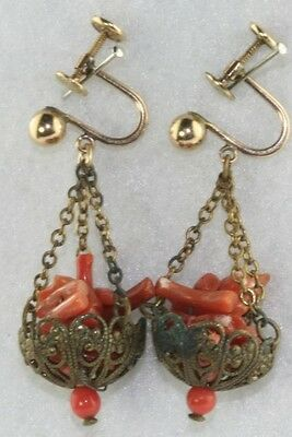Italian Victorian Antique Branch Coral Basket Earrings