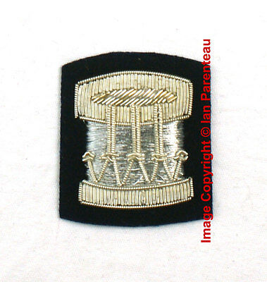EBCB# 032 Silver Embroidered DRUM on Navy Blue Sew On Insignia Patch / Badge