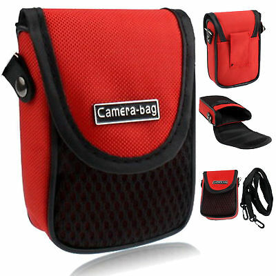 Red Compact Digital Camera Case Universal Soft Bag Pouch + Strap