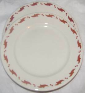 Buffalo China Vintage 2 Test Pattern Colors Rose & Maroon Birds Luncheon Plates