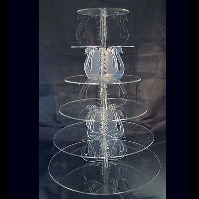 6 Tier Round Acrylic Swan Wedding & Party Cake Stand