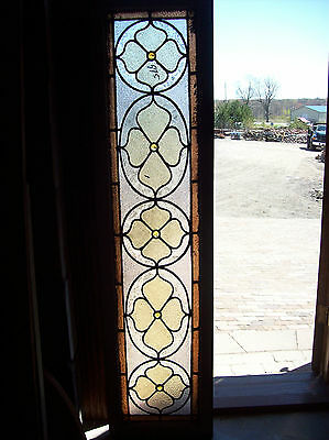 Flowers w/ center faceted jewels transom textured stained glass window (SG 1225)