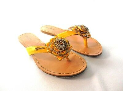 New Authentic Guess Casual Sandals By Guess  Baubble Yellow Textile Size 8.5
